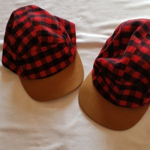 Boys Red/Black Checked Hats